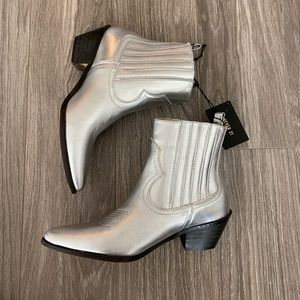 NEW silver cowboy booties- Forever 21